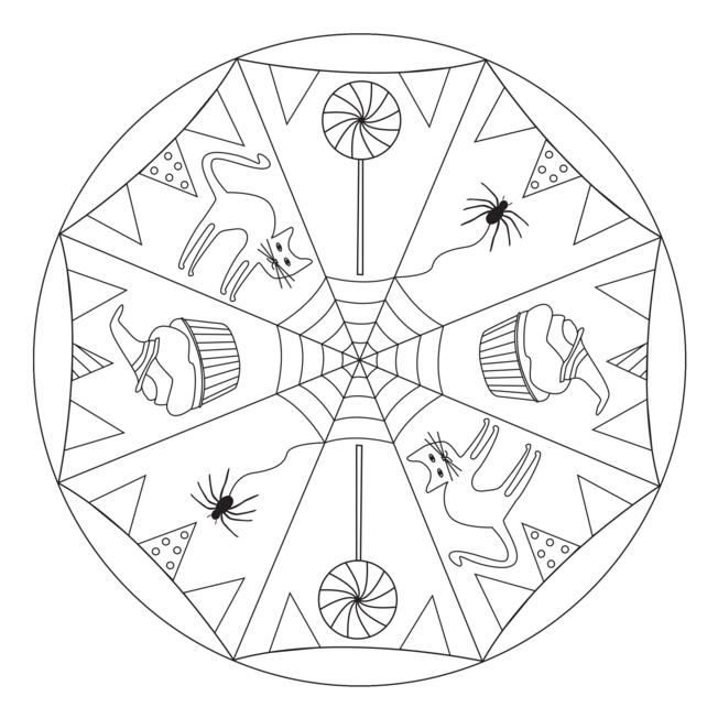 Halloween Mandala Mit Katze Kindergarten Kita Schule