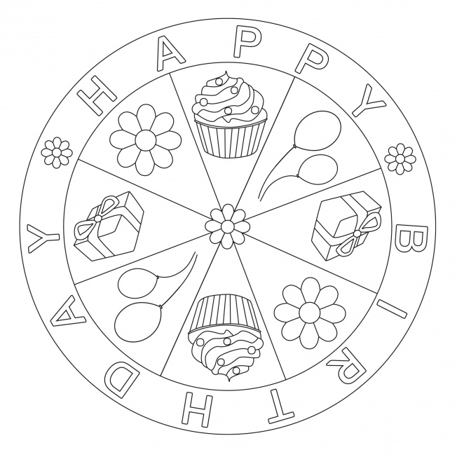birthday mandala coloring pages search