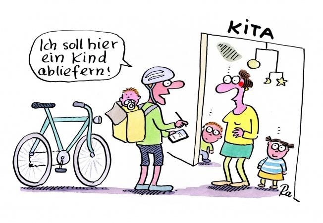 Kindergarten_KiGaPortal_Cartoon_Renate Alf_Fahrradkurier