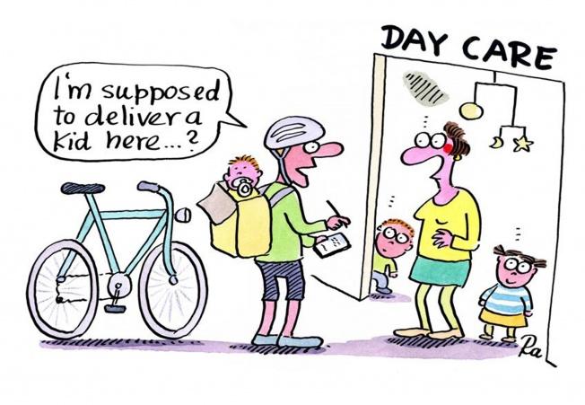 Preschool_KiGaPortal_Cartoons_Renate Alf_Fahrradkurier