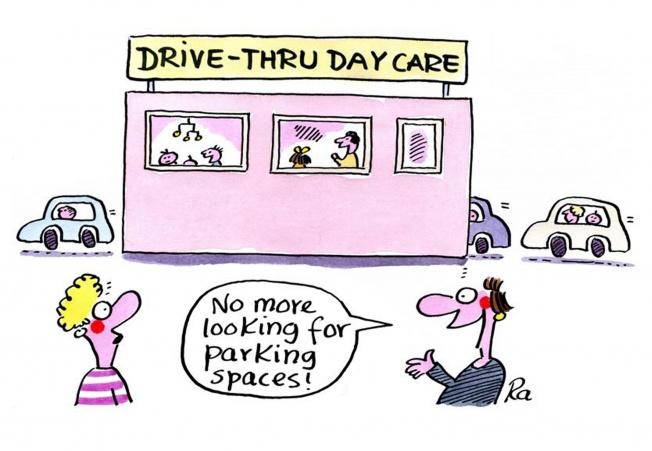 Preschool_KiGaPortal_Cartoons_Renate Alf_Drive-thru day care