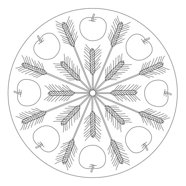 Herbst-Mandala mit Getreideähren und Äpfeln