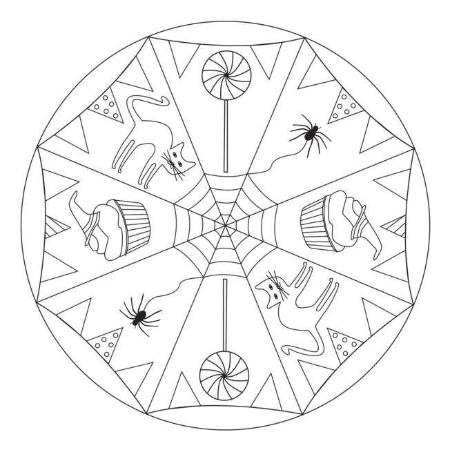 halloween mandala with cats for pre k kindergarten and elementary school. Black Bedroom Furniture Sets. Home Design Ideas