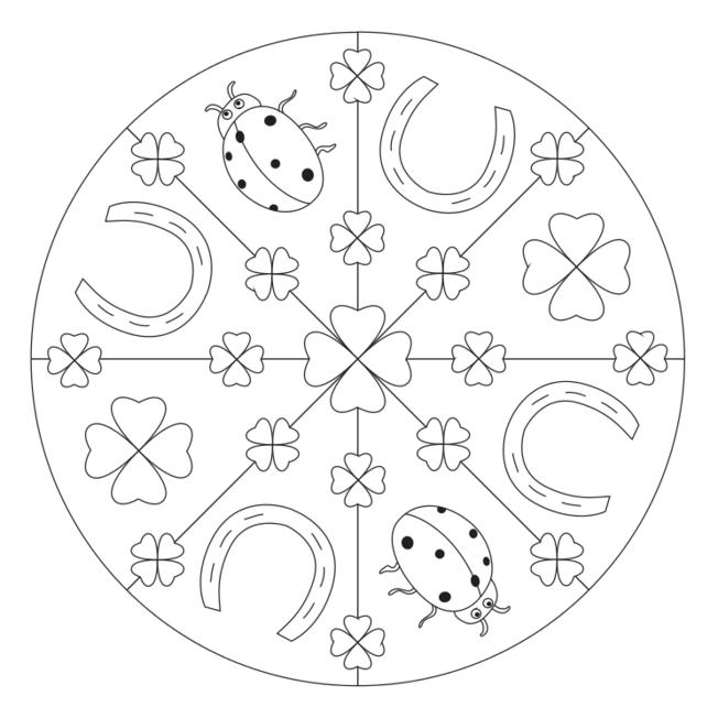 glücksbringermandala mit kleeblatt für kindergarten kita