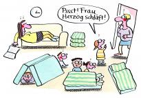 Mittagsschlaf - ein ErzieherInnen Cartoon von Renate Alf