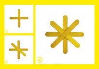 Bildkarten für gelbe Sterne mit Bastelhölzern