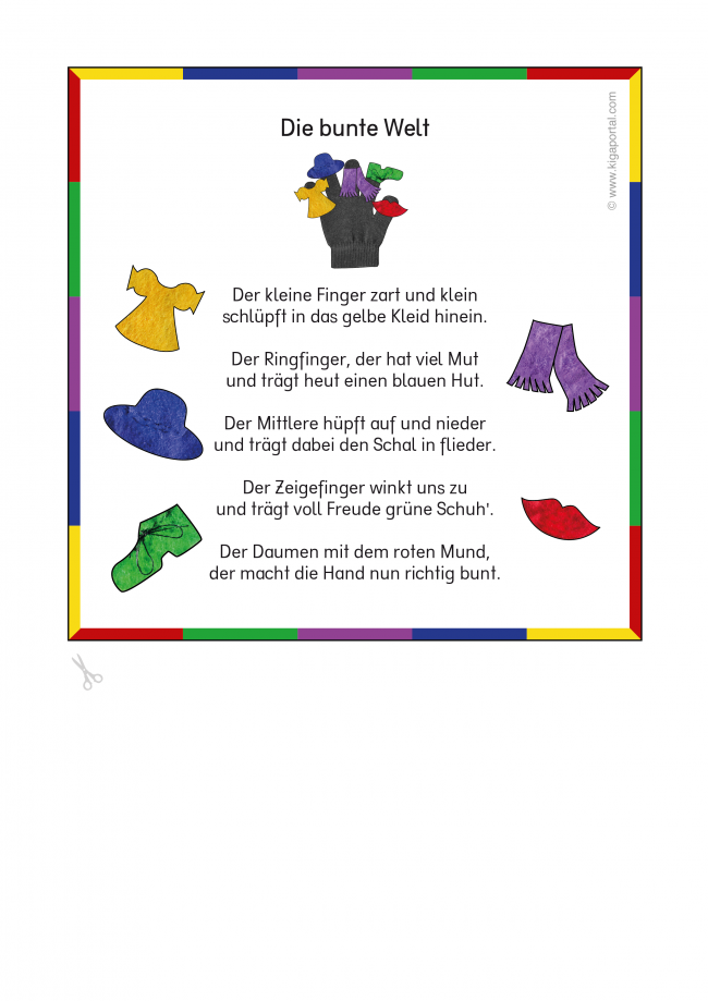 die bunte welt ein fingerspiel f r die spr chebox f r kindergarten kita und schule. Black Bedroom Furniture Sets. Home Design Ideas