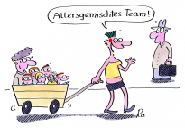 Altersgemischtes Team - ein Cartoon von Renate Alf
