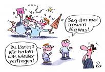 Wenn Mamas streiten: ein Cartoon von Renate Alf