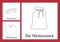 Im Nikolaussack: Bild-Wortkarten sw