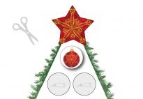Schneidebild: Bunte Kugeln für den Weihnachtsbaum