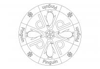 Pinguin-Mandala mit Schriftbild