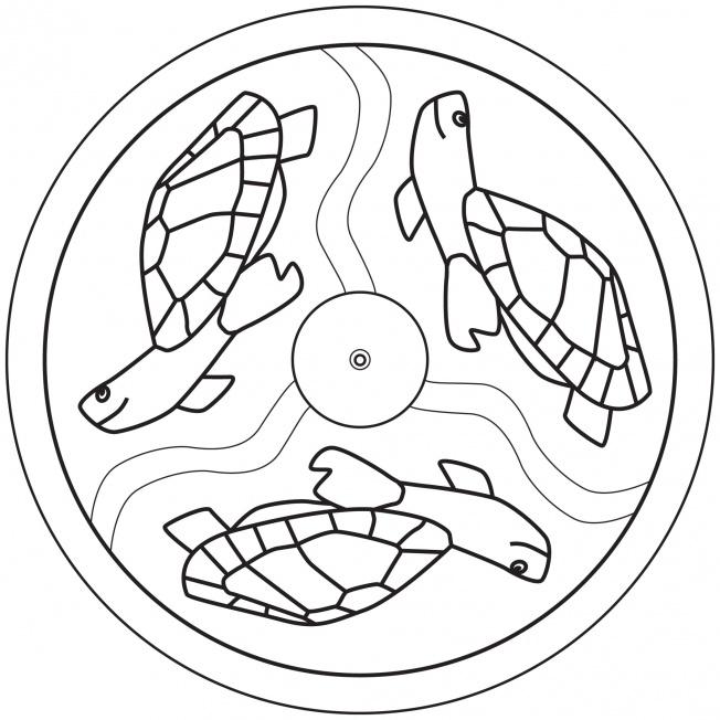 sea turtle mandala for prek kindergarten and elementary