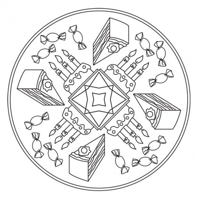 geburtstagsfeier-mandala für kindergarten, kita und schule