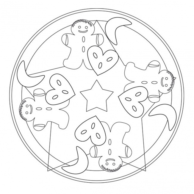 christmas cookies mandala 1 for pre k kindergarten and. Black Bedroom Furniture Sets. Home Design Ideas