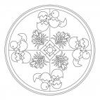 Mandala di Pasqua: pulcini