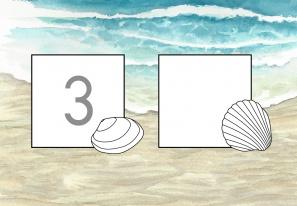 Muscheln am Strand: Zahlen schreiben im Zahlenraum 1-5