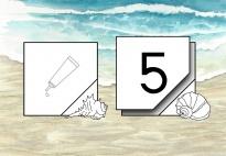 Muscheln am Strand:  Zahlen kleben im Zahlenraum 1-5