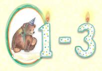 Bunte Zahlen von 1-3  für Geburtstags-Dekorationen
