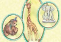 Ausschneidebilder mit Tieren für Geburtstagskarten
