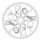 Herbst-Mandala mit Früchten