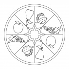 Mandala con frutti autunnali