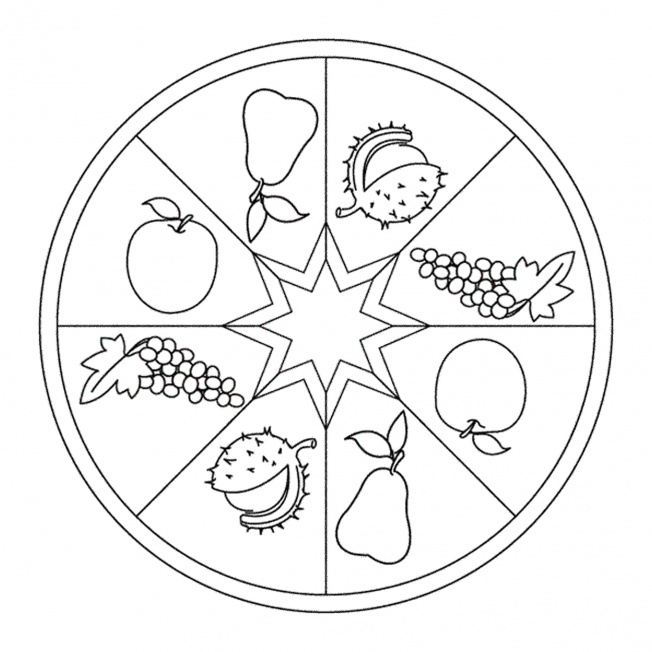 HerbstMandala mit Früchten für Kindergarten, KiTa und Schule