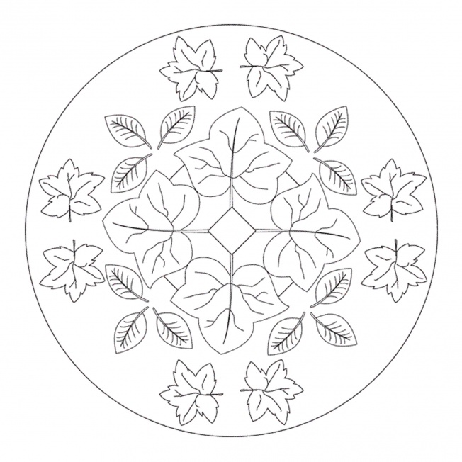 Autumn leaves mandala for pre k kindergarten and for Autumn mandala coloring pages