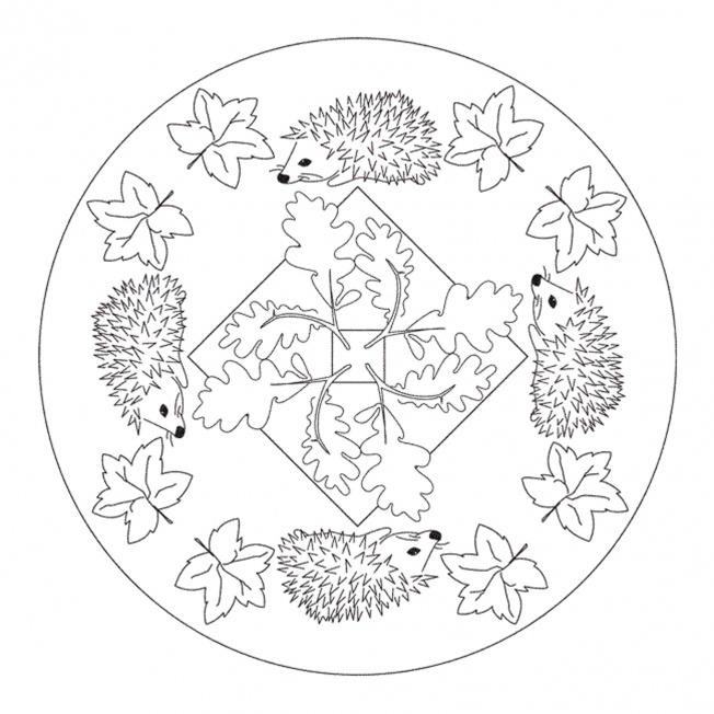 Hedgehog mandala for pre k kindergarten and elementary school for Autumn mandala coloring pages