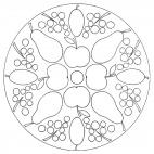 Herbst-Mandala mit Äpfeln. Birnen und Trauben