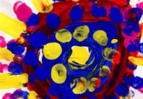 Farbmosaik: Fingerdruck auf Mini - Papier