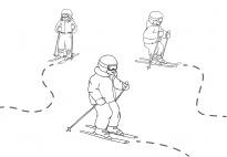 Auf der Schipiste: Spuren im Schnee nachfahren SW