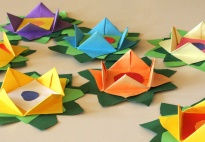 Origami Flowers for Room Decoration or Greeting Cards