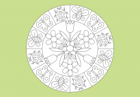 Garden Mandala with Insects and Flowers