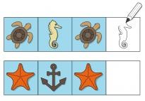 Am Meer: Logische Reihen - Zeichenbild