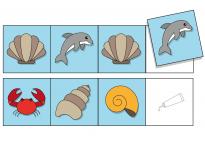 Am Meer: Logische Reihen - Klebebild