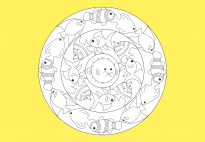 Sommer Mandala: Fische