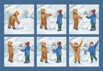 Bildgeschichte: Emma und Philipp bauen einen Schneemann