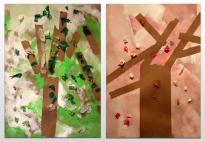 Blühende Bäume im Frühling - Collage mit Klebestreifen
