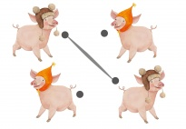 Die Glücksschweinchen: Gleiche Schweinchen verbinden 1