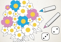 Flowers Count and Color with Dice Patterns 1-6
