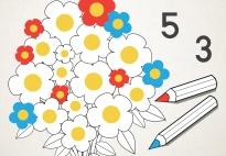 Blüten zählen und malen im Zahlenraum 1-6