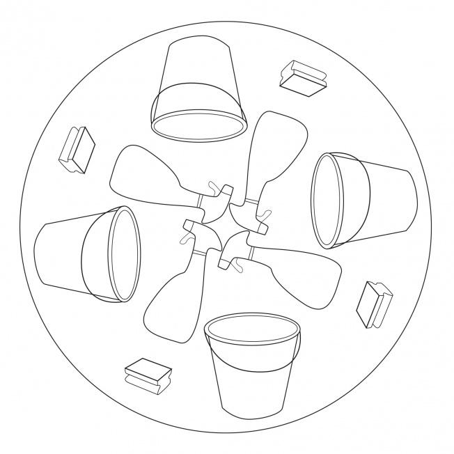 Putzmaterial-Mandala 1