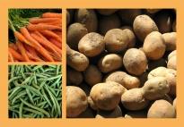Gemüsesuppe-Bildkarten für das Reaktionsspiel