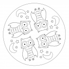 Tier-Mandala mit Eulen
