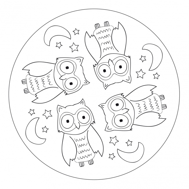 owl mandala for pre k kindergarten and elementary school. Black Bedroom Furniture Sets. Home Design Ideas