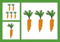Karotten-Zählspiel-Bildkarten im Zahlenraum 1-10 einfach