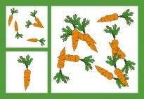 Karotten-Zählspiel-Bildkarten im Zahlenraum 1-10 schwierig