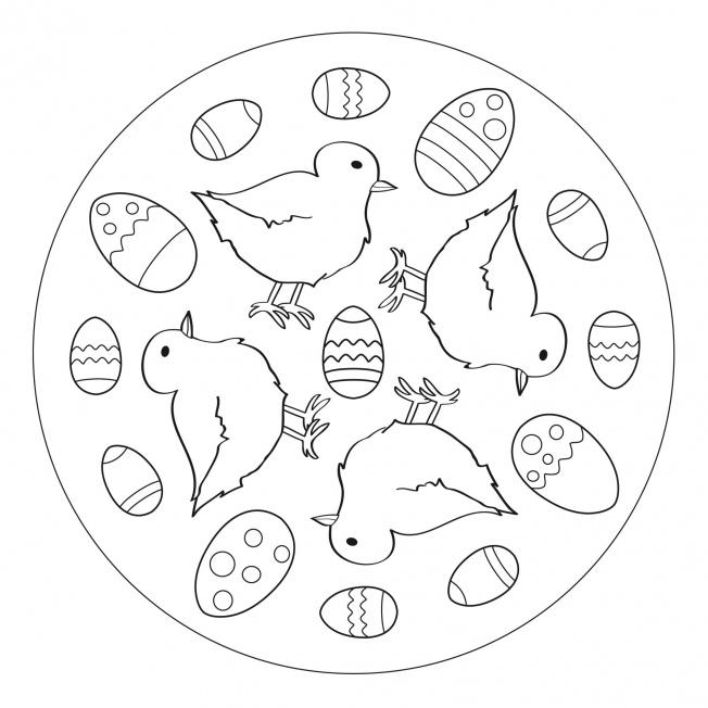 easter eggs and chicks mandala 2 for prek kindergarten