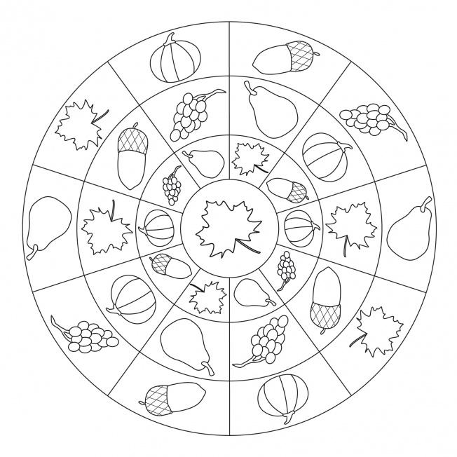 Herbst mandala mit herbstfr chten f r kindergarten kita for Autumn mandala coloring pages